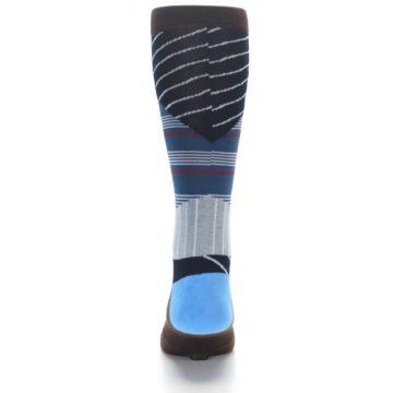 Image of Blue Grey Black Stripes Men's Casual Socks (back-18)