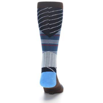 Image of Blue Grey Black Stripes Men's Casual Socks (back-19)