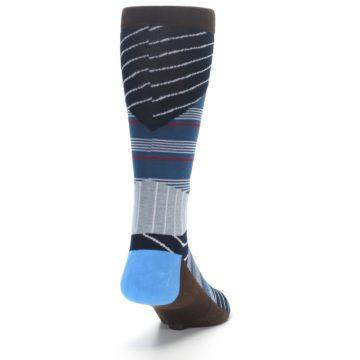 Image of Blue Grey Black Stripes Men's Casual Socks (side-1-back-20)