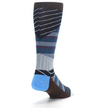 Image of Blue Grey Black Stripes Men's Casual Socks (side-1-back-21)