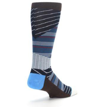 Image of Blue Grey Black Stripes Men's Casual Socks (side-1-back-22)