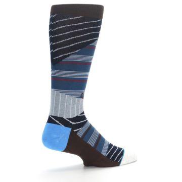 Image of Blue Grey Black Stripes Men's Casual Socks (side-1-23)