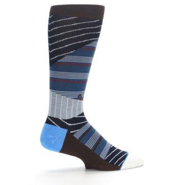 Image of Blue Grey Black Stripes Men's Casual Socks (side-1-24)