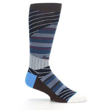 Image of Blue Grey Black Stripes Men's Casual Socks (side-1-25)