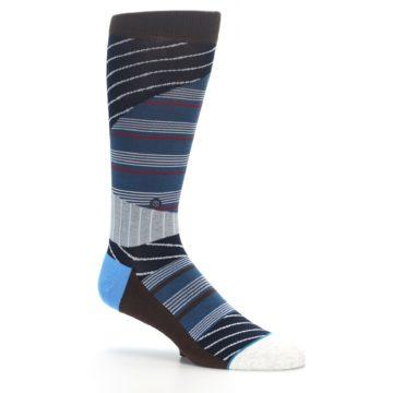 Image of Blue Grey Black Stripes Men's Casual Socks (side-1-26)