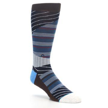 Image of Blue Grey Black Stripes Men's Casual Socks (side-1-27)