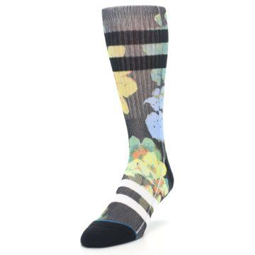Image of Black Blue Green Corsage Men's Casual Socks (side-2-front-07)
