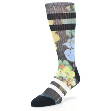 Image of Black Blue Green Corsage Men's Casual Socks (side-2-front-08)