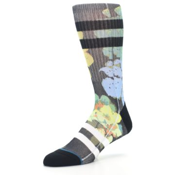 Image of Black Blue Green Corsage Men's Casual Socks (side-2-09)