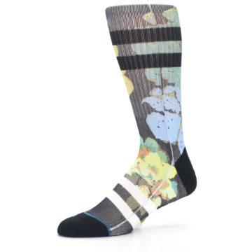 Image of Black Blue Green Corsage Men's Casual Socks (side-2-10)