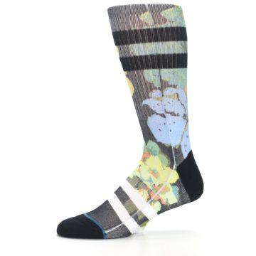 Image of Black Blue Green Corsage Men's Casual Socks (side-2-11)