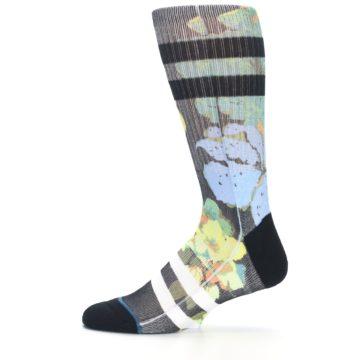 Image of Black Blue Green Corsage Men's Casual Socks (side-2-12)