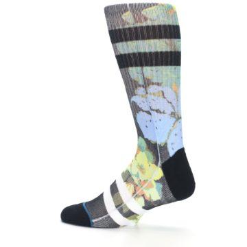 Image of Black Blue Green Corsage Men's Casual Socks (side-2-13)