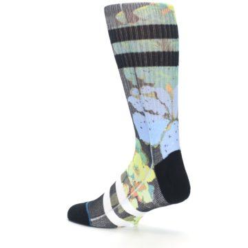 Image of Black Blue Green Corsage Men's Casual Socks (side-2-back-14)