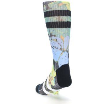 Image of Black Blue Green Corsage Men's Casual Socks (side-2-back-16)