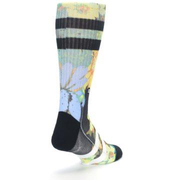 Image of Black Blue Green Corsage Men's Casual Socks (side-1-back-21)