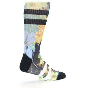 Image of Black Blue Green Corsage Men's Casual Socks (side-1-23)