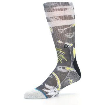 Image of Black Grey Yellow Celebration Men's Casual Socks (side-2-10)