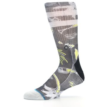 Image of Black Grey Yellow Celebration Men's Casual Socks (side-2-11)