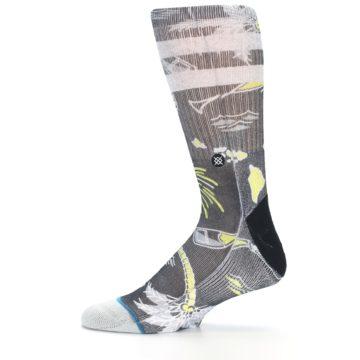 Image of Black Grey Yellow Celebration Men's Casual Socks (side-2-12)