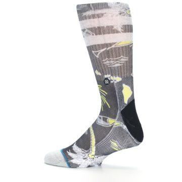 Image of Black Grey Yellow Celebration Men's Casual Socks (side-2-13)