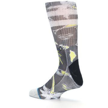 Image of Black Grey Yellow Celebration Men's Casual Socks (side-2-back-14)