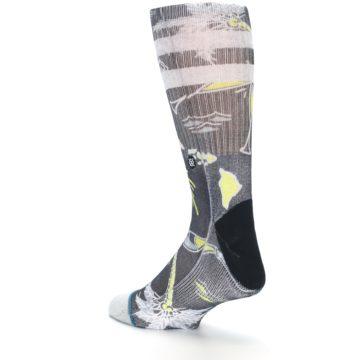 Image of Black Grey Yellow Celebration Men's Casual Socks (side-2-back-15)