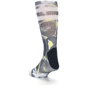 Image of Black Grey Yellow Celebration Men's Casual Socks (side-2-back-16)