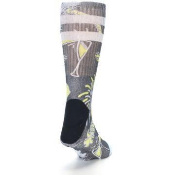 Image of Black Grey Yellow Celebration Men's Casual Socks (side-1-back-20)