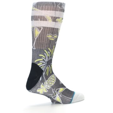 Image of Black Grey Yellow Celebration Men's Casual Socks (side-1-23)