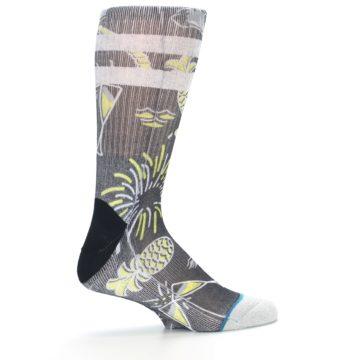 Image of Black Grey Yellow Celebration Men's Casual Socks (side-1-24)