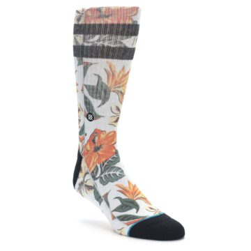 Orange white tropical flowers men's socks from STANCE