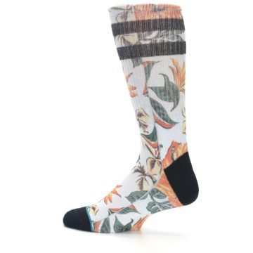 Image of White Black Orange Tropical Flowers Men's Casual Socks (side-2-13)
