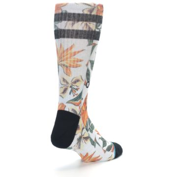 Image of White Black Orange Tropical Flowers Men's Casual Socks (side-1-back-21)