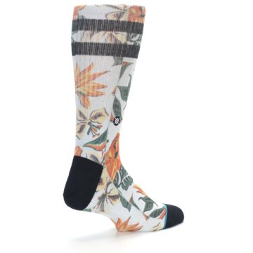 Image of White Black Orange Tropical Flowers Men's Casual Socks (side-1-back-22)