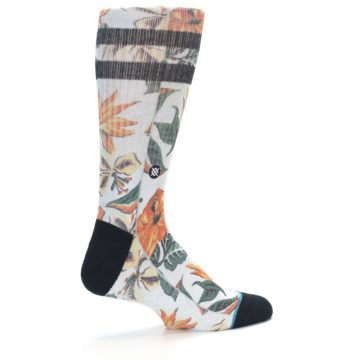Image of White Black Orange Tropical Flowers Men's Casual Socks (side-1-23)