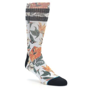 Image of White Black Orange Tropical Flowers Men's Casual Socks (side-1-27)