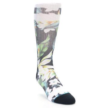 Image of Black White Green Flowered Men's Casual Socks (side-1-front-02)