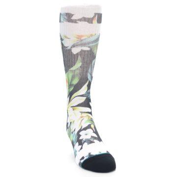 Image of Black White Green Flowered Men's Casual Socks (side-1-front-03)
