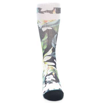 Image of Black White Green Flowered Men's Casual Socks (front-04)