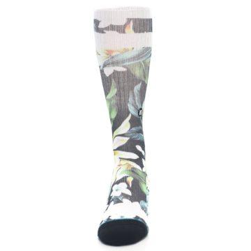 Image of Black White Green Flowered Men's Casual Socks (front-05)