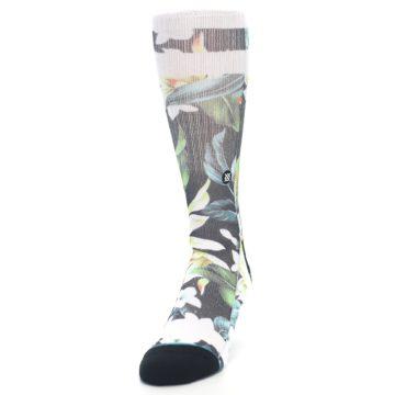 Image of Black White Green Flowered Men's Casual Socks (side-2-front-06)