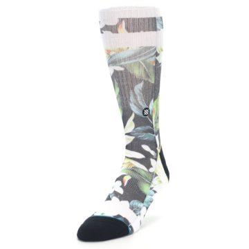 Image of Black White Green Flowered Men's Casual Socks (side-2-front-07)
