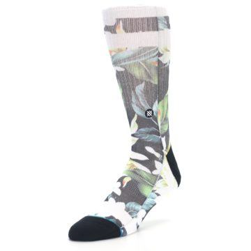 Image of Black White Green Flowered Men's Casual Socks (side-2-front-08)