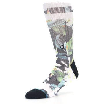 Image of Black White Green Flowered Men's Casual Socks (side-2-09)