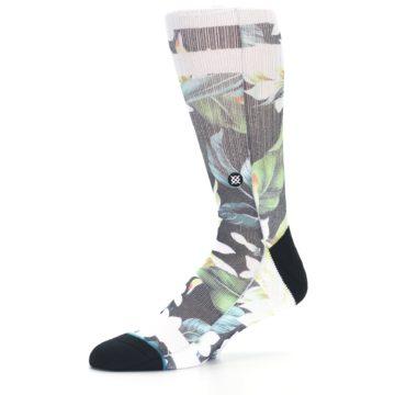 Image of Black White Green Flowered Men's Casual Socks (side-2-10)