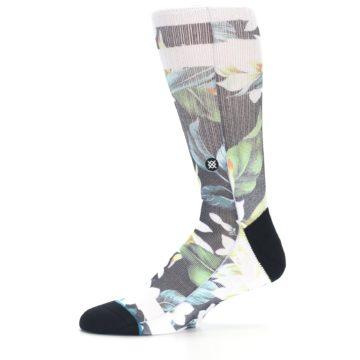 Image of Black White Green Flowered Men's Casual Socks (side-2-11)