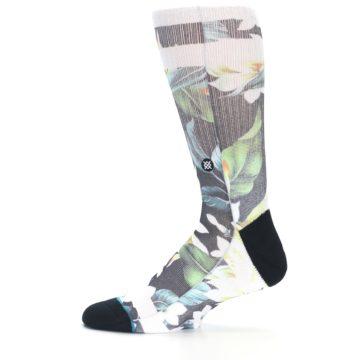 Image of Black White Green Flowered Men's Casual Socks (side-2-12)