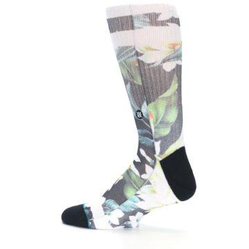 Image of Black White Green Flowered Men's Casual Socks (side-2-13)