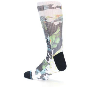 Image of Black White Green Flowered Men's Casual Socks (side-2-back-14)